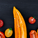 Banner of Mixed of half red and yellow pepper with a green branch near cherry tomato - PhotoDune Item for Sale