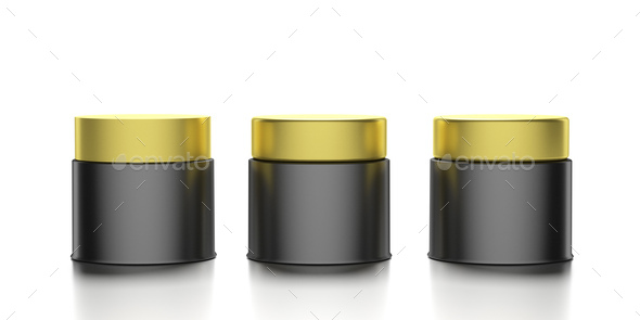 Glass cosmetic jars with golden covers isolated against white background. 3d illustration - Stock Photo - Images