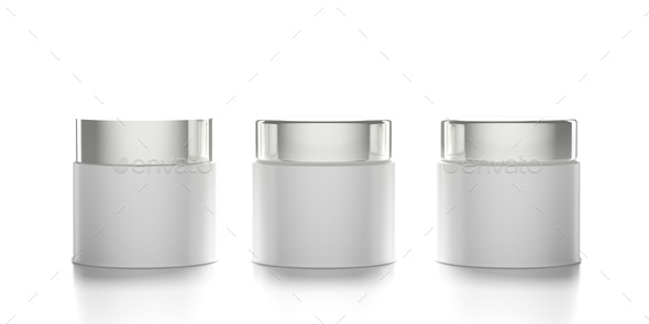 Glass cosmetic jars with covers isolated against white background. 3d illustration - Stock Photo - Images
