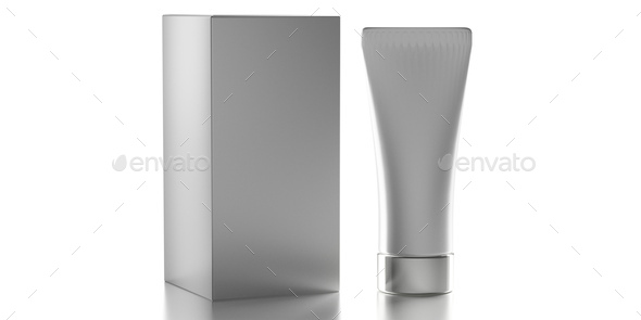 Blank cream tube isolated on white background, cosmetic product package template. 3d illustration - Stock Photo - Images