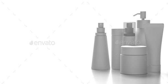 Blank cosmetics packages isolated on white background, 3d illustration - Stock Photo - Images