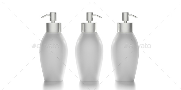 Blank cosmetic pump bottle isolated on white background. 3d illustration - Stock Photo - Images