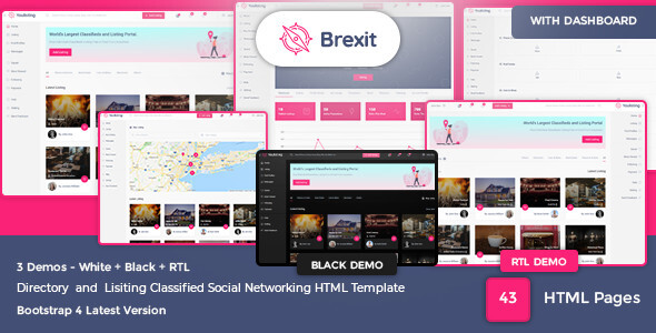 Brexit - Classified and Directory Social Networking HTML Template