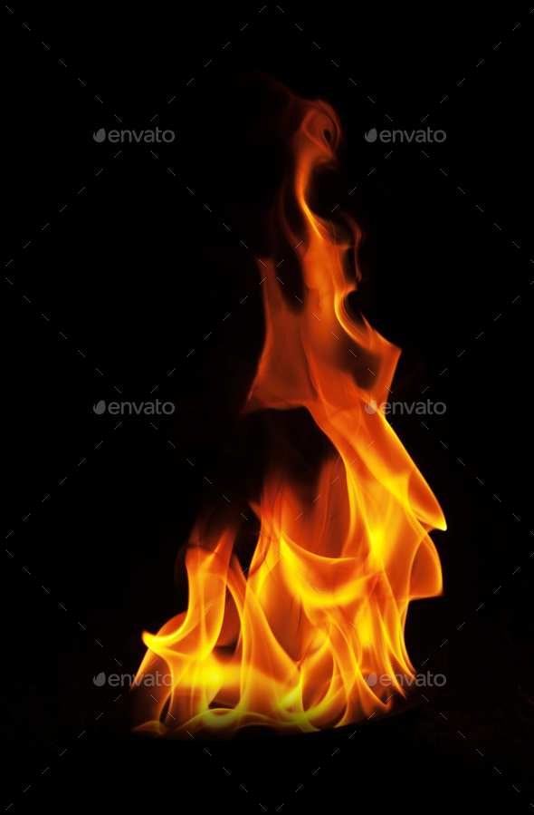 Fire flames on black background - Stock Photo - Images