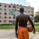 Back View Of Black Man Playing Basketball On Outdoor Court in Cuba - PhotoDune Item for Sale
