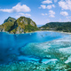 Aerial panoramic view of Corong Corong lagoon with moored boats. El Nido village, Palawan - PhotoDune Item for Sale