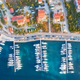 Aerial view of boats and yachts in port in old city at sunset - PhotoDune Item for Sale