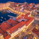Aerial view of houses with red roofs at night in Dubrovnik - PhotoDune Item for Sale