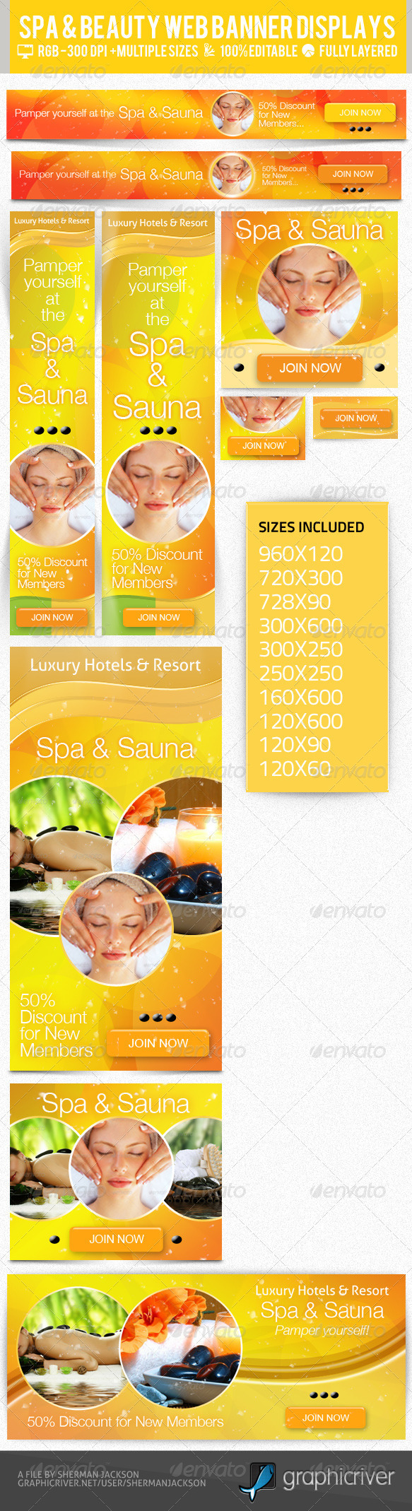 Beauty & Spa Web Banner & Ad Kit - PSD Templates - Banners & Ads Web Elements