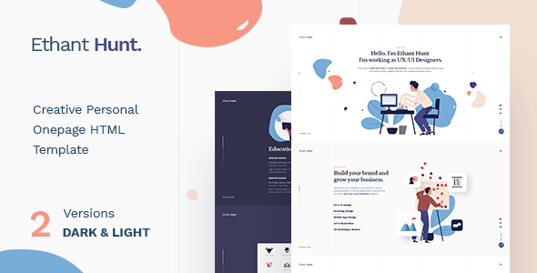 Extraordinary Ethant Hunt - Personal Onepage HTML Template
