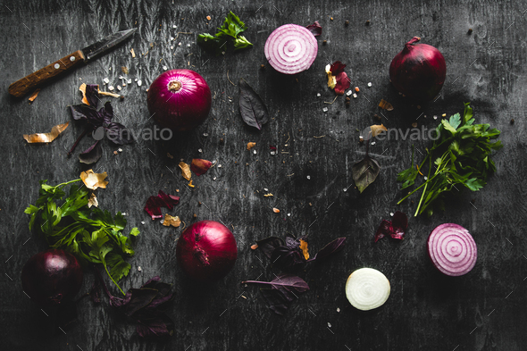 onions on black wood table background - Stock Photo - Images