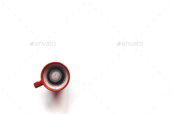 Top view coffee in a red cup, isolated on white background - Stock Photo - Images