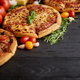 Freshly served, three various pizzas placed among tasty ingredients. Top view - PhotoDune Item for Sale