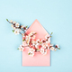 Blossoming Branches in Pink Envelope on Blue Background. - PhotoDune Item for Sale