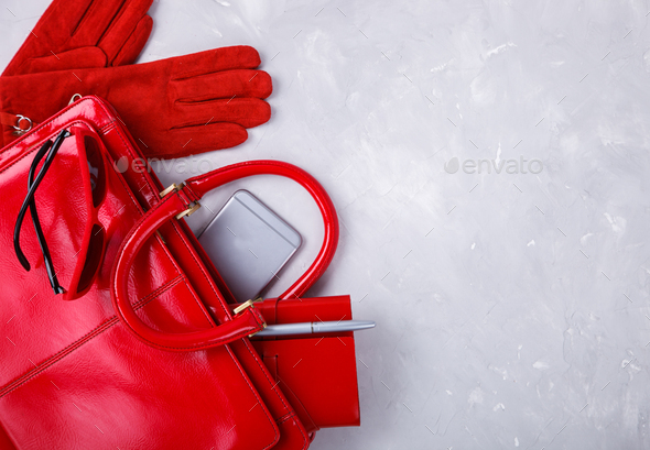 Still life of fashion woman red color - Stock Photo - Images