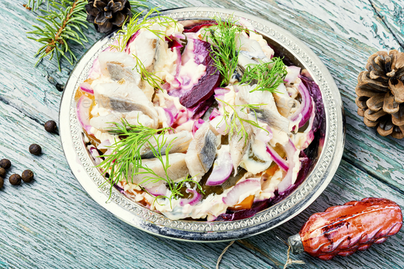 Christmas salad with herring - Stock Photo - Images