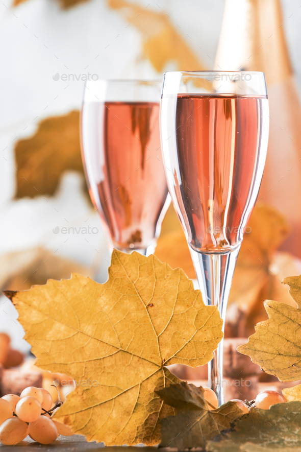 Rose pink champagne glasses - Stock Photo - Images