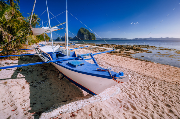 Traditional banca boat at exotic sandy beach with amazing Pinagbuyutan tropical island in background - Stock Photo - Images