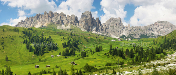 View of mountains and valley from Gardena pass, Dolomites Alps , Italy, Europe - Stock Photo - Images