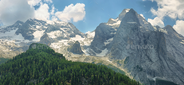 Marmolada peak in South Tyrol, Dolomites. Italy - Stock Photo - Images