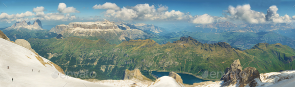 View of mountains from Marmolada summit in Dolomites, Italy - Stock Photo - Images