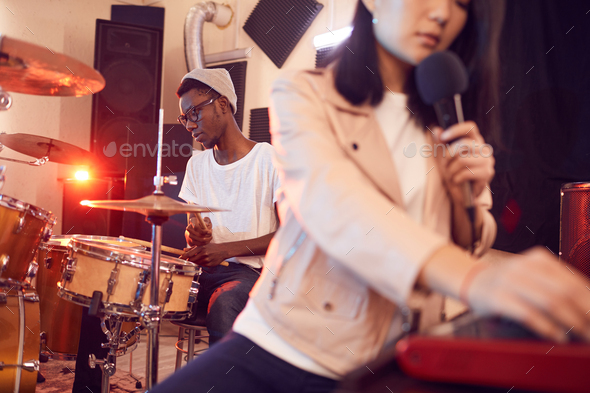 Music Band Working in Studio - Stock Photo - Images
