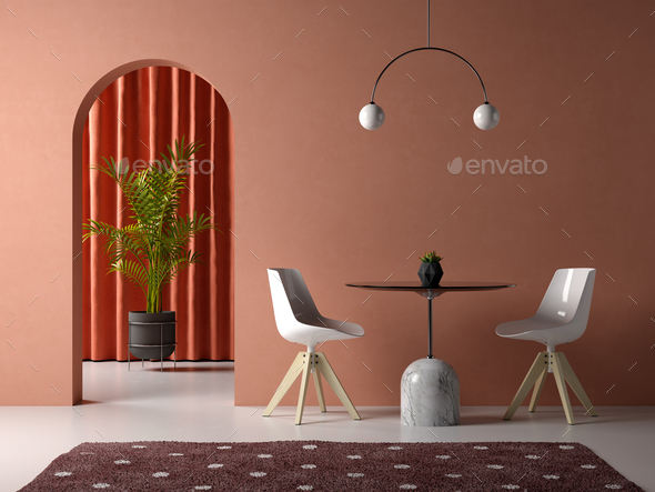 conceptual interior room 3d illustration - Stock Photo - Images