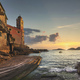 Tellaro sea village, church and boat at sunset. Cinque terre, Ligury Italy - PhotoDune Item for Sale