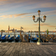 Venice lagoon, San Giorgio church, gondolas and street lamp. Italy - PhotoDune Item for Sale