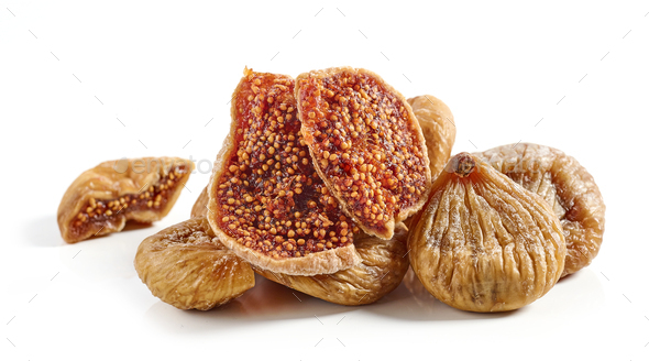 dried figs on white background - Stock Photo - Images