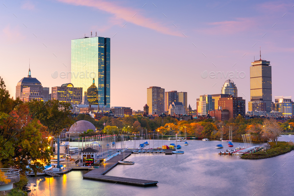 Boston, Massachusetts, USA skyline on the Charles River - Stock Photo - Images