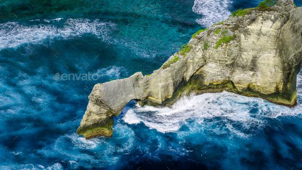 Beautiful Huge Wave hitting Rock on Atuh Beach, Nusa Penida, Bali, Indonesia - Stock Photo - Images