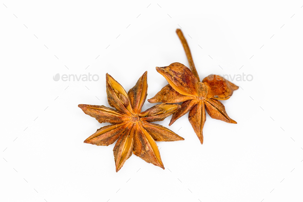 star anise isolated on white - Stock Photo - Images