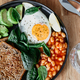 Fried egg, avocado, toasts, beans and fresh spinach - PhotoDune Item for Sale