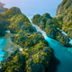 Aerial drone view of Big lagoon and majestic rocks. Discover explore El Nido, Palawan Philippines - PhotoDune Item for Sale