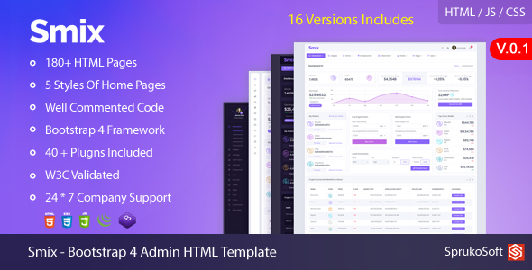 Smix – Bootstrap 4  Admin HTML Template by SprukoSoft