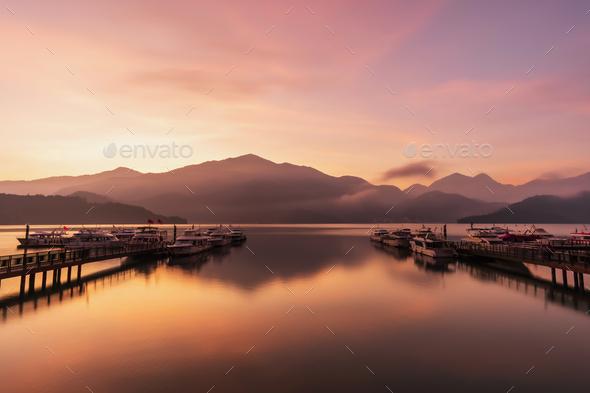 Beautiful sunrise landscape at sun moon lake in nantou, Taiwan - Stock Photo - Images