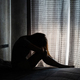 Lonely young woman depressed and stressed sitting in the dark bedroom, Negative emotion concept - PhotoDune Item for Sale