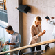 Busy business people on stairs in modern office - PhotoDune Item for Sale