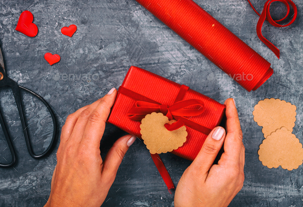 Box with red Ribbon.Gift Holiday.Symbol Concept Valentine Day.Greeting Card - Stock Photo - Images