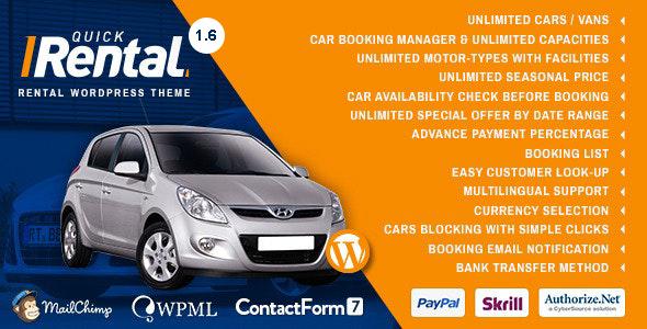 Quick Rental - Vehicles Booking WordPress  Theme