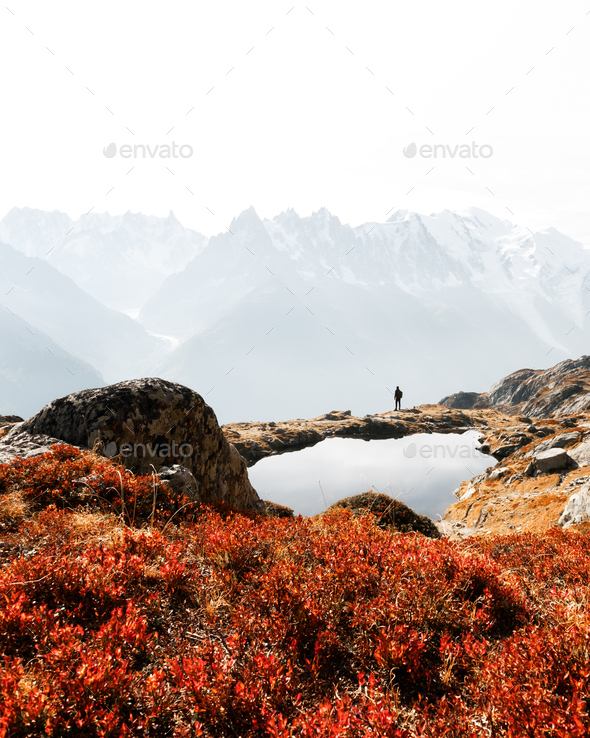 Silhouette of hiker near Chesery lake - Stock Photo - Images