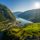 Aurlandsfjord Town Of Flam at dawn. - PhotoDune Item for Sale