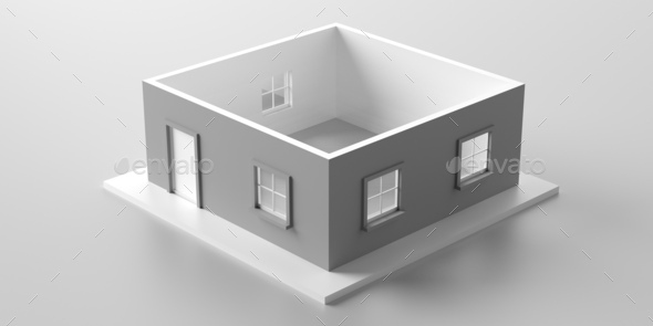 House model roofless isolated against white background. 3d illustration - Stock Photo - Images