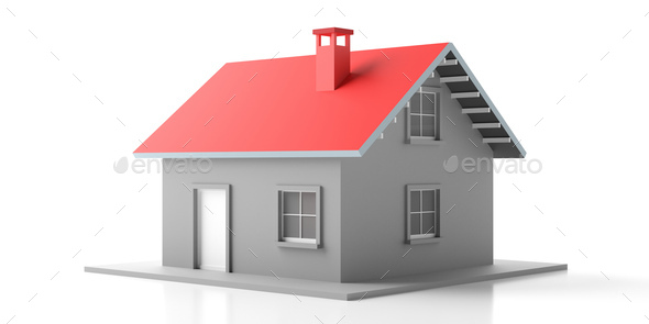 House miniature isolated against white background. 3d illustration - Stock Photo - Images