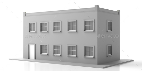 House mansion miniature isolated against white background. 3d illustration - Stock Photo - Images