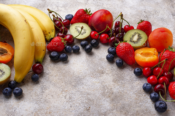 Fruits and berries summer background - Stock Photo - Images