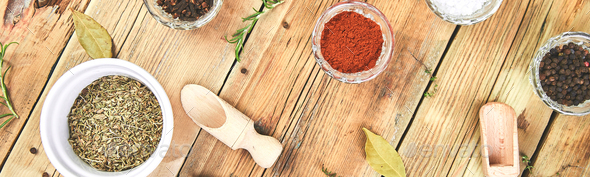 Banner of Flat lay of Seasoning background. Spice and herb seasoning with fresh and dried - Stock Photo - Images