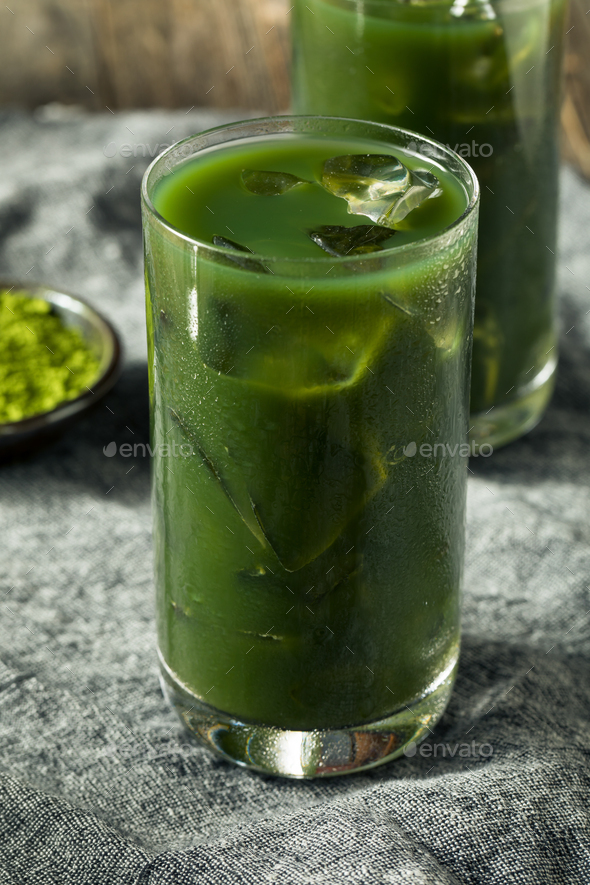 Homemade Iced Matcha Drink - Stock Photo - Images
