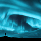 Aurora borealis and silhouette of standing man - PhotoDune Item for Sale